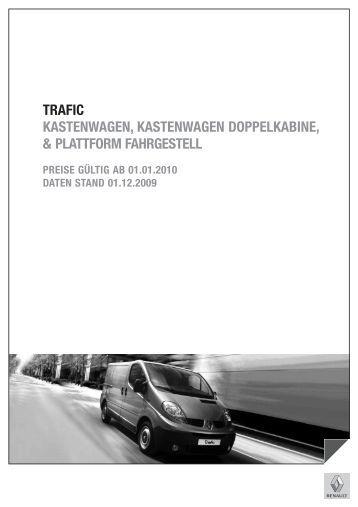 Gewichte, Reifendimensionen und Sitze Trafic Kastenwagen - Renault
