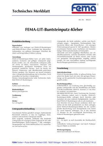 Technisches Merkblatt - FEMA Farben + Putze GmbH