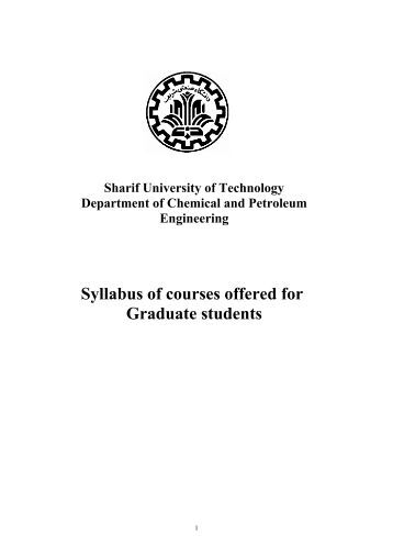 Syllabus of courses offered for Graduate students