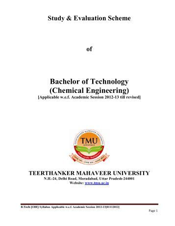 Chemical Engineering - Teerthanker Mahaveer University