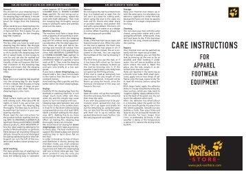 CARE INSTRUCTIONS - JACK WOLFSKIN