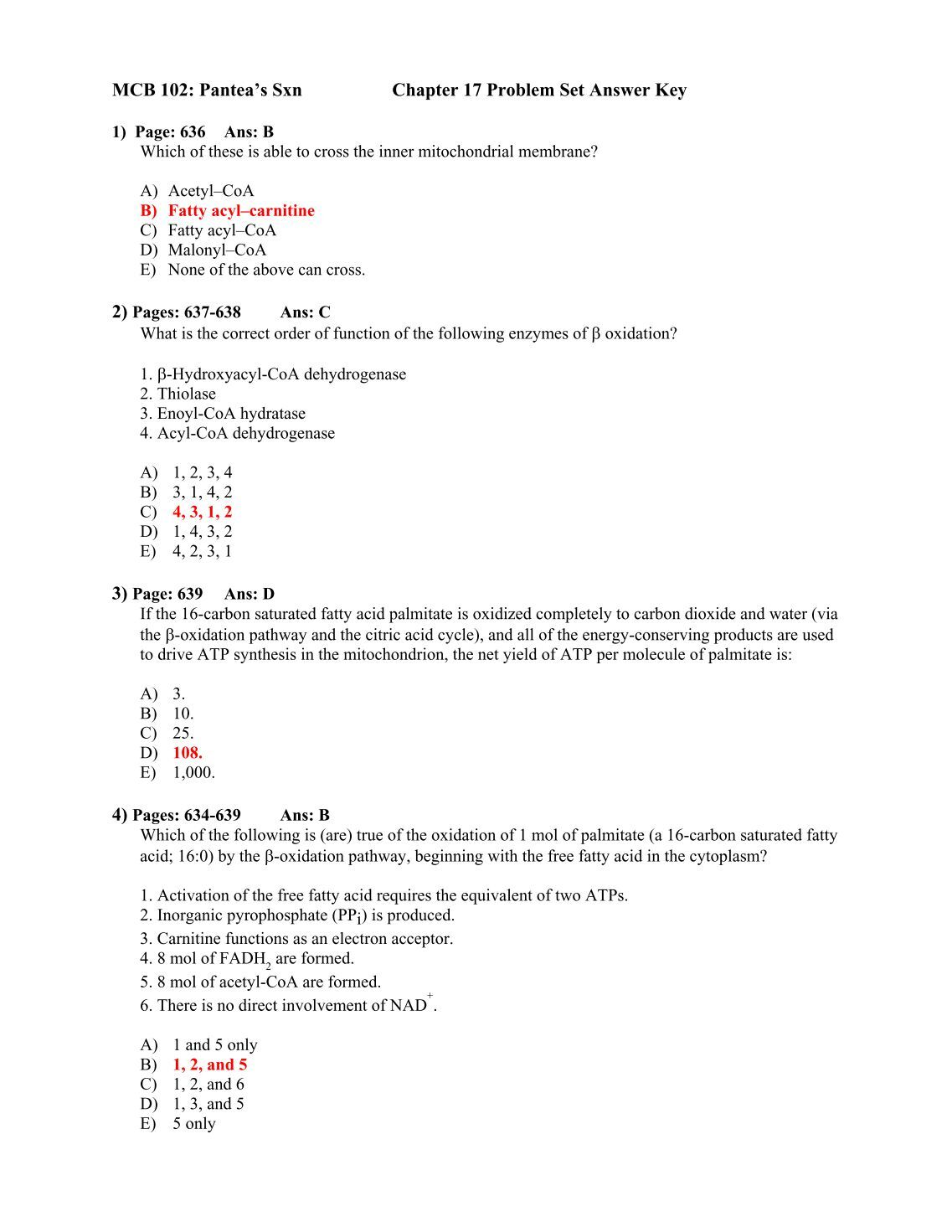 mcb problem set Problem set #2 mcb 2000 problem set #2 (note: you must show your work to receive full credit) due date: week of march 7th at the beginning of your lab section enzyme kinetic problems 1 you measure the initial rate of an enzyme reaction as a function of substrate concentration in the.