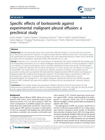 Specific effects of bortezomib against experimental ... - BioMed Central