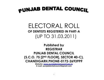 Electoral Roll Of Dentists Registered In Part - Punjab Dental Council....