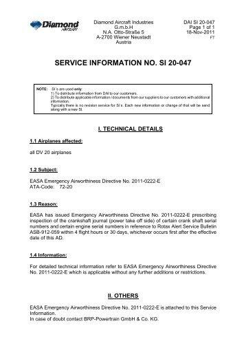 SERVICE INFORMATION NO. SI 20-047 - Diamond Aircraft