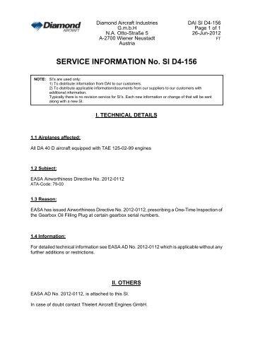 SERVICE INFORMATION No. SI D4-156 - Diamond Aircraft