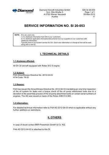 SERVICE INFORMATION NO. SI 20-053 - Diamond Aircraft