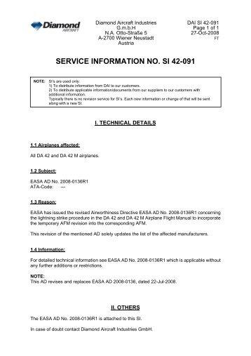 SERVICE INFORMATION NO. SI 42-091 - Diamond Aircraft