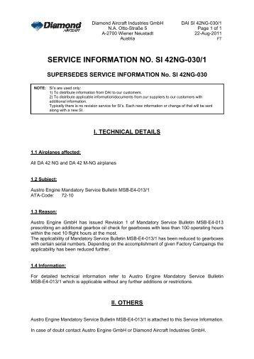 SERVICE INFORMATION NO. SI 42NG-030/1 - Diamond Aircraft