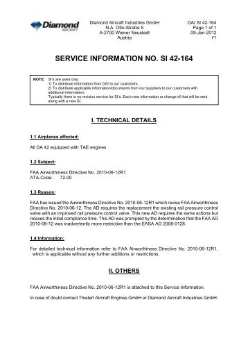 SERVICE INFORMATION NO. SI 42-164 - Diamond Aircraft