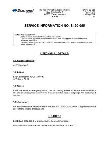 SERVICE INFORMATION NO. SI 20-055 - Diamond Aircraft
