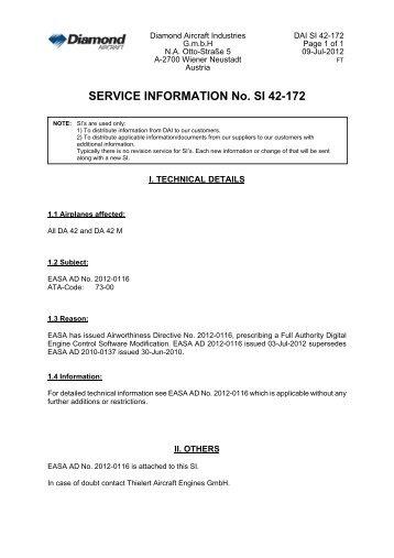 SERVICE INFORMATION No. SI 42-172 - Diamond Aircraft