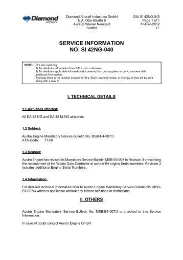 SERVICE INFORMATION NO. SI 42NG-040 - Diamond Aircraft