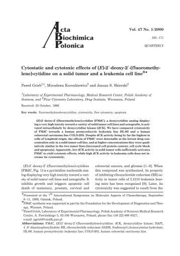 Cytostatic and cytotoxic effects of (E)-2¢-deoxy-2¢-(fluoromethy ...