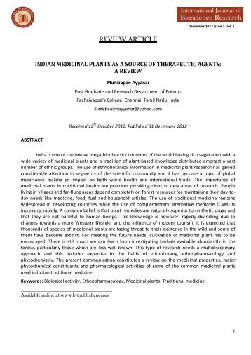 indian medicinal plants as a source of therapeutic - BRT Publishers