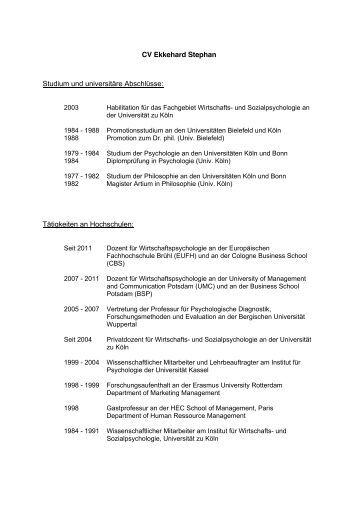 curriculum vitae dr carsten rensinghoff institut