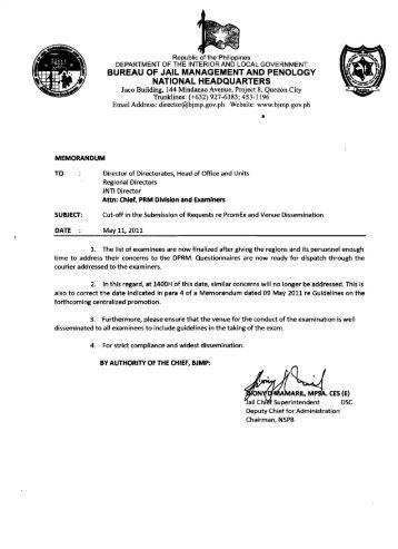 Bureau of Jail Management and Penology Manila Reviews