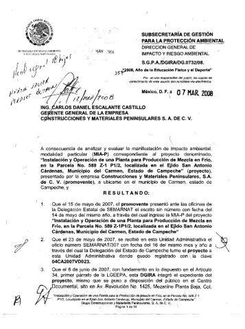 A _ ,7 . ' PARA LA PROTECCIÓN AMBIENTAL - sinat - Semarnat