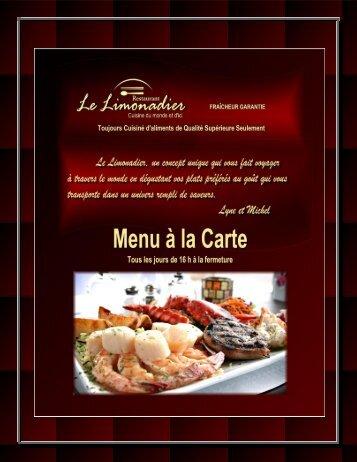 Télécharger ici notre Menu à la Carte PDF - Le Limonadier