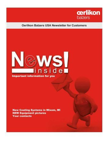 Oerlikon Balzers USA Newsletter for Customers