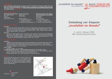 """Einladung zur Enquete """"Invalidität im Wandel"""" - gesundearbeit"""