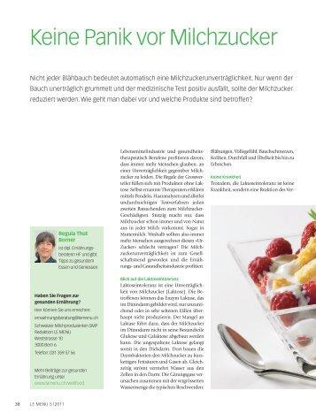 Keine Panik vor Milchzucker (PDF, 708 KB) - le menu