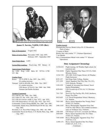 James E. Service, VADM, USN (Ret.) Duty Assignment Chronology