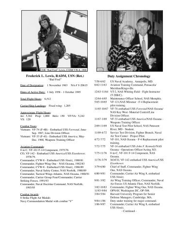 Frederick L. Lewis, RADM, USN (Ret.) Duty Assignment Chronology