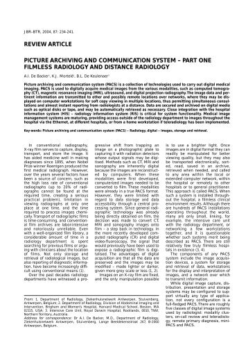 review article picture archiving and communication system - rbrs