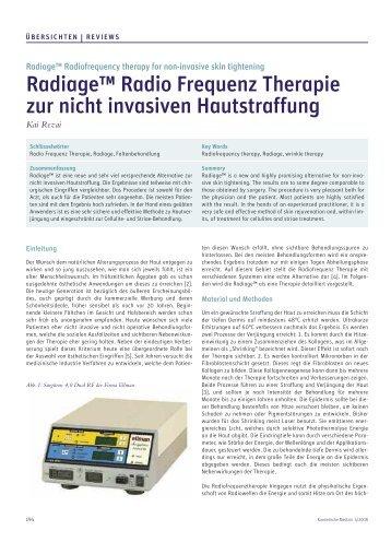 Radiage™ Radio Frequenz Therapie zur nicht invasiven Hautstraffung