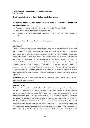 Biological Activities of Some Indian medicinal plants - japer