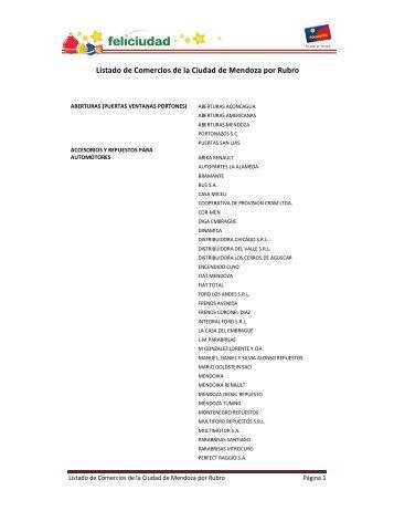 Listado de Comercios de la Ciudad de Mendoza ... - Tarjeta Nevada