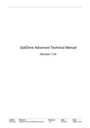 OptiDrive Advanced Technical Manual - Anacon Systems, Inc.