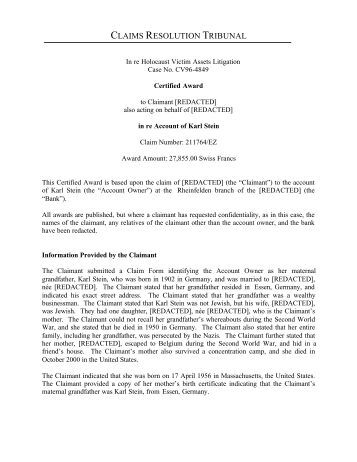 claims resolution tribunal - Holocaust Victim Assets Litigation (Swiss ...
