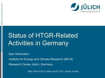 Status of HTGR-Related Activities in Germany - IAEA
