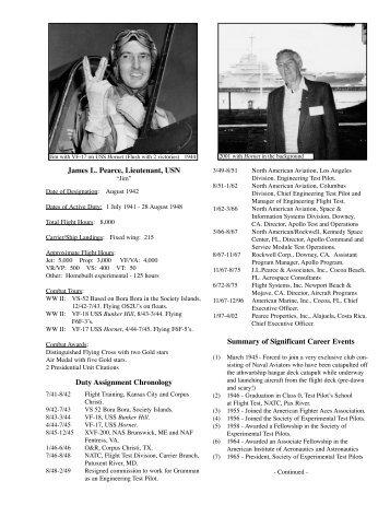 James L. Pearce, Lieutenant, USN Duty Assignment Chronology ...