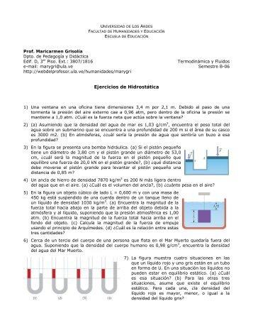 Ejercicios de Hidrostática - Web del Profesor - ULA