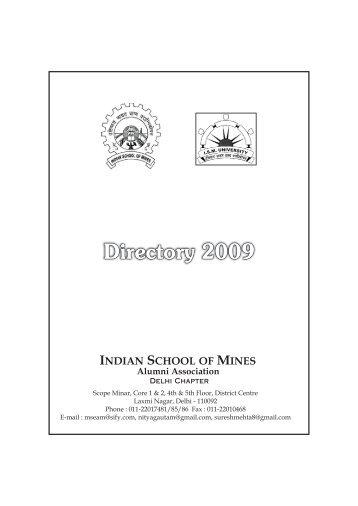 Directory 2009 - ISM Alumni Association Delhi Chapter