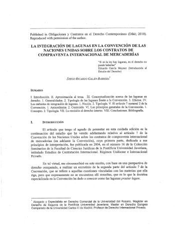 Published in Obligaciones y Contratos en el Derecho ...