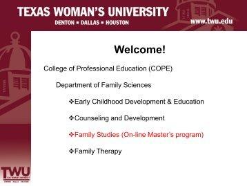 Family Studies Online Master's Tools - Texas Woman's University