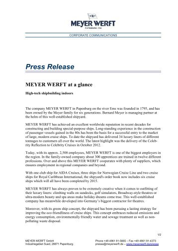 Further information are available for download as PDF - Meyer Werft