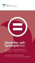 Generika och Synonymlistan 2012-05-01 till 2013 - Västra ...