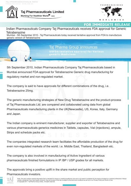 Indian Pharmaceuticals Company Taj Pharmaceuticals receives