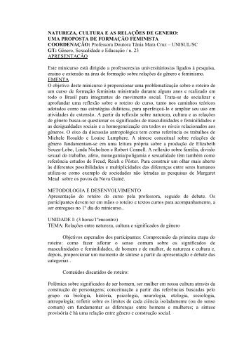NATUREZA, CULTURA E AS RELAÇÕES DE GENERO ... - ANPEd