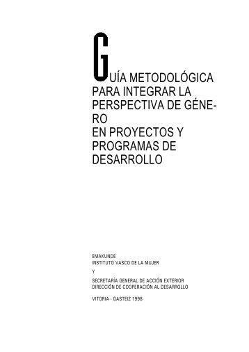 Guía metodológica para integrar la perspectiva de género - Emakunde
