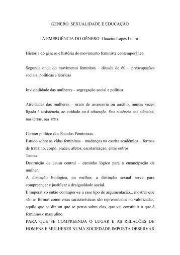 A EMERGÊNCIA DO GÊNERO- Guacira Lopes Louro