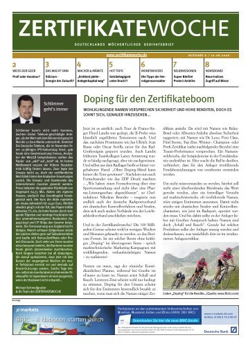 Zertifikatewoche Ausgabe 6 - Seppelfricke & Co. Family Office AG