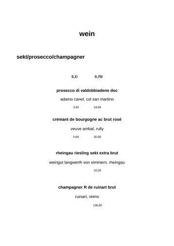 wein sekt/prosecco/champagner - Sachs