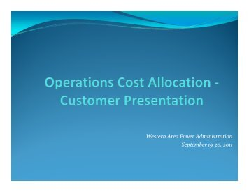 (OCP) Cost Allocation Presentation - Western Area Power ...