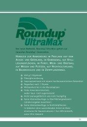 Roundup ® UltraMax -Anwendungsgebiete und Aufwandmengen